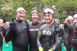 Neil Mainom, Ged  Tighe and Chris Duncan at the John West Great North Swim