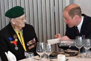 John Dowling entertains the Duke of Cambridge with a ditty about the Royal Marines.