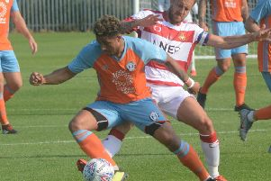 Halifax's Jamie Allen in action during the 1-1 draw at Doncaster. Picture: Kelly Gilchrist/FC Halifax Town