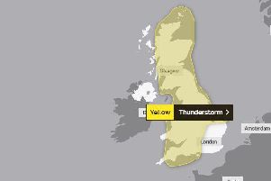 The Met Office has issued a yellow weather warning for thunderstorms between 6pm today and 9am on Wednesday