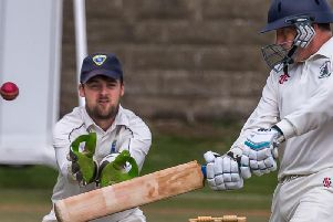 Dave Graham in batting action for Seamer before the rain halted their Premier Division encounter at Staithes. Pictures by Brian Murfield.