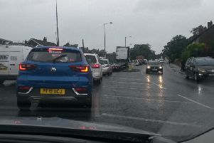 Traffic was queued on the A6 in Chorley, from Hartwood Hall roundabout to B & Q, during morning rush hour (August 16)