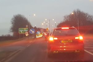 Traffic near Junction 3 of the M55