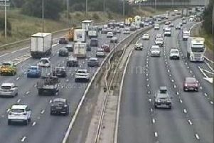 There is heavy traffic on the M61 and M6 after a crash near Clayton Brook this afternoon (August 30)