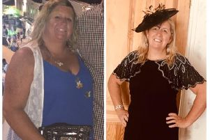 Woman of the Year Lorraine McIntyre, before and after her four stone weight loss. She is pictured on the left in Portugal two years ago when she was size 18-20. Lorraine is now size 10 and heading back to the same holiday resort next fortnight.