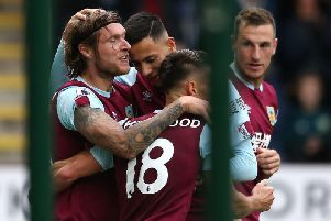 Burnley midfielder Jeff Hendrick celebrates his goal against Everton with Dwight McNeil, Ashley Westwood and Chris Wood