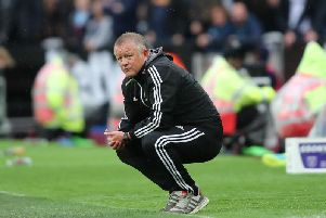 Sheffield United manager Chris Wilder on the touchline at the London Stadium