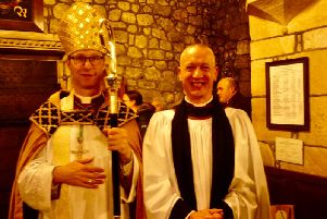 The Rt Rev Philip North (left) with new vicar Rev Williams