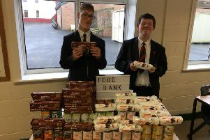 Pupils proud to have collected all the food