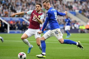 Robbie Brady closes down Leicester City's James Maddison at the King Power Stadium