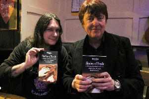 Author Barry McCann (right) with contributor Chris Newton, of the band Dischord, promoting his book Shadow of Pendle