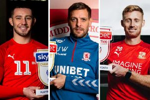 WINNERS (from left): Barnsley striker Conor Chaplin, Middlesbrough boss Jonathan Woodgate and Eoin Doyle, now back at Bradford City after a successful loan spell at Swindon Town. Pics courtesy of EFL.