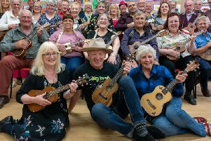 Garstang Ukulele Group rehearsing at Garstang Arts Centre (photo: Bob Sapey)
