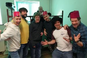 Cast and crew getting in the panto spirit