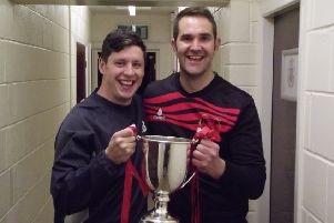 Garstang manager Lee Baker and assistant Neil Beesley celebrate Richardson Cup success