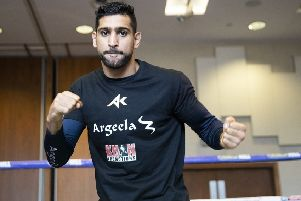 Picture By Mark Robinson.'Amir Khan takes part in a open workout ahead of his fight this coming saturday against Phil Lo Greco.