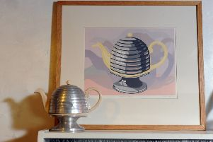 A print by Helen of the Art deco teapot in her kitchen.   Picture Tony Johnson.