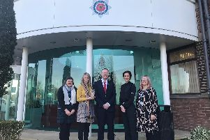 (From left): Claire Joule, Restorative Justice coordinator; Helena Cryer, Restorative Justice Manager, Clive Grunshaw, Lancashire Police and Crime Commissioner; Jo Edwards, Assistant Chief Constable; Lesley Miller, Head of CJS for Lancashire Constabulary.
