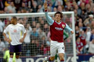 GOAL SALUTE: Jack Cork celebrates his goal.'Photo Ben Parsons'Burnley Sport - 09-05-10