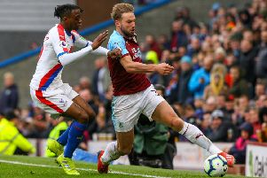Crystal Palace's Aaron Wan-Bissaka forces Burnley's Charlie Taylor out of play''Photographer Alex Dodd/CameraSport''The Premier League - Burnley v Crystal Palace - Saturday 2nd March 2019 - Turf Moor - Burnley''World Copyright � 2019 CameraSport. All rights reserved. 43 Linden Ave. Countesthorpe. Leicester. England. LE8 5PG - Tel: +44 (0) 116 277 4147 - admin@camerasport.com - www.camerasport.com
