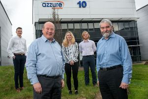 Craig Such, front left, of Azzure, and Frank Suttie, front right, of Ward Hadaway, with Azzure apprentices, from the left, Luke Sidebottom, Kate Burrows and Chris Boone.