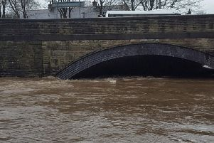 The Calder in Padiham nearly burst its banks late on Saturday afternoon