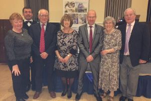 In tune to help Rosemere Cancer Foundation are, from the left, supporters Janet and David Bristol, Sandy and Joyce Greenwood, Tower organist John Bowdler, and Hilda and Tony Makinson.