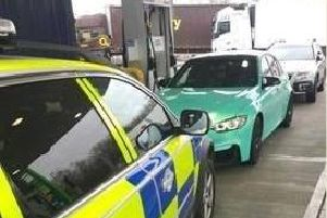 The moment police caught up with the stolen BMW car.