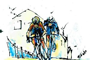 Clitheroe artist Gosha Gibek has used household gloss paint to capture the Tour de France and will exhibit her work at Clitheroe's Spring Art and Craft Fair this weekend. (s)