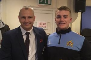 Clitheroe FC manager Lee Ashforth (left) with striker Max Hazeldine