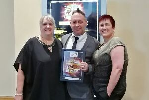 The Oaks Care Home maintenance man Chris Sorgorski with home manager Ann Mielnik (left) and Hill Care Group regional manager Jane Mack.