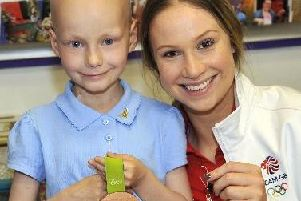 Tia got the chance to meet Olympian Sophie Hitchon when she visited her school in 2016 to give the Jet Set Angels project a boost.