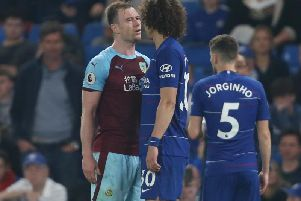Ashley Barnes and David Luiz face off