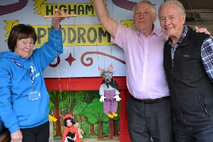 Higham May Fair puppeteers Anne Rawlinson, Jack Heyworth and Terry Butterfield