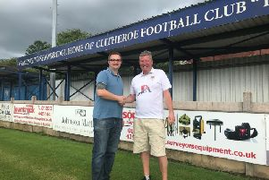 Interim chairman Lee Sharples (left) welcomes new commercial manager Paul'Atkinson to Shawbridge.
