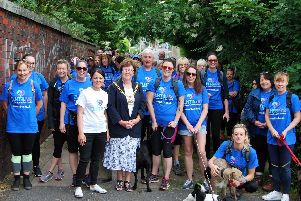 Mayor of Burnley, Coun. Anne Kelly, with some of the walkers
