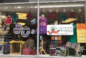 Hospice shop front window display