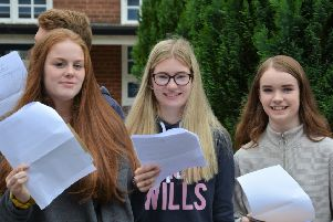 Students celebrating their GCSE results at Anthony Gell School in Wirksworth.