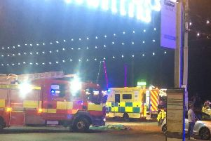 Fire crews helped rescue the boy from underneath the tram before he was taken to Alder Hey Children's Hospital with significant injuries. Pic - @MrLiamCronin
