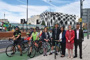 Alistair Brownlee, pictured with various cyclists as well as Leeds City Council leader Judith Blake and Coun Manisha Kaushik, of West Yorkshire Combined Autorit's transport committee
