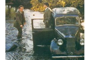 The 'water splash' scene in It Shouldn't Happen to a Vet, with the Austin car.