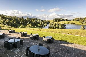 The patio outside the Huntsman's Lodge restaurant commands breathtaking views.