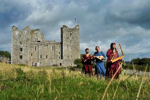 Singer Richard de Winter, Paul Leigh playing the gittern and Gill Paige with the harp playing at the Medieval Music in the Dales event held at Bolton Castle. Picture Tony Johnson.