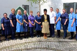 Chief Midwifery Officer Professor Dunkley-Bent with East Lancashire maternity staff