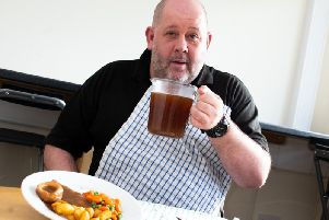 Andy Gray with his litre of gravy