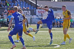 Joe Rowley gets a shot in at Sutton United.