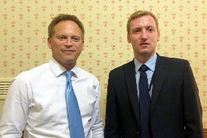 North East Derbyshire MP Lee Rowley, right, met with the new Secretary of State for Transport, Grant Shapps, to continue talks about congestion on the Derby Road, the Staveley bypass and HS2.