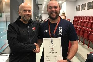 Andy Fletcher collects his coach of the year award for Lancashire