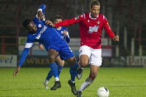 Wrexham 0 v 1 Chesterfield. Picture is Spireites striker Mike Fondop.