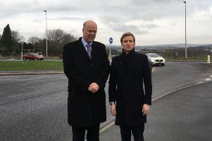 North East Derbyshire MP Lee Rowley, right, with former transport minister Chris Grayling on the A61 near Clay Cross earlier this year.